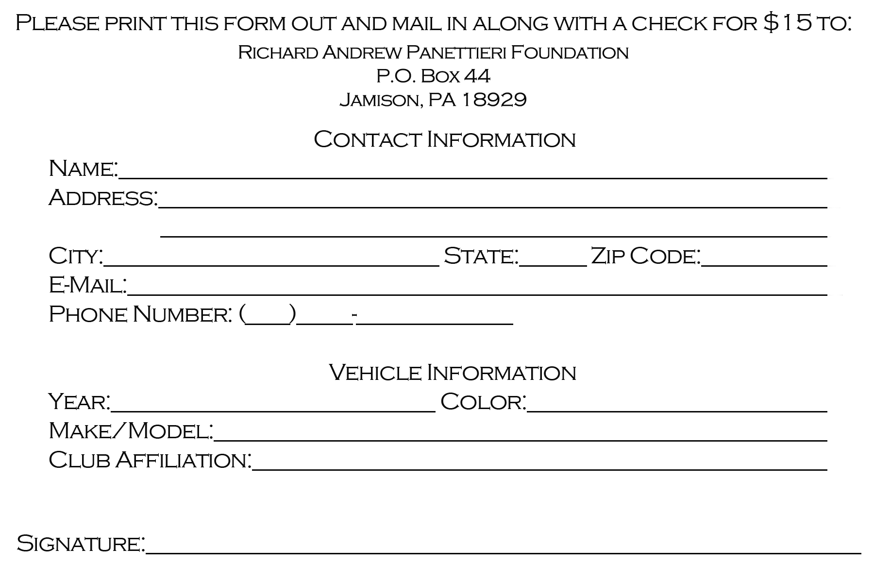 Registration Form | 4uDrew Benefit Car Show